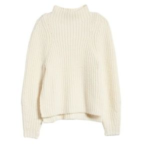 LEITH high neck pull over sweater off white M